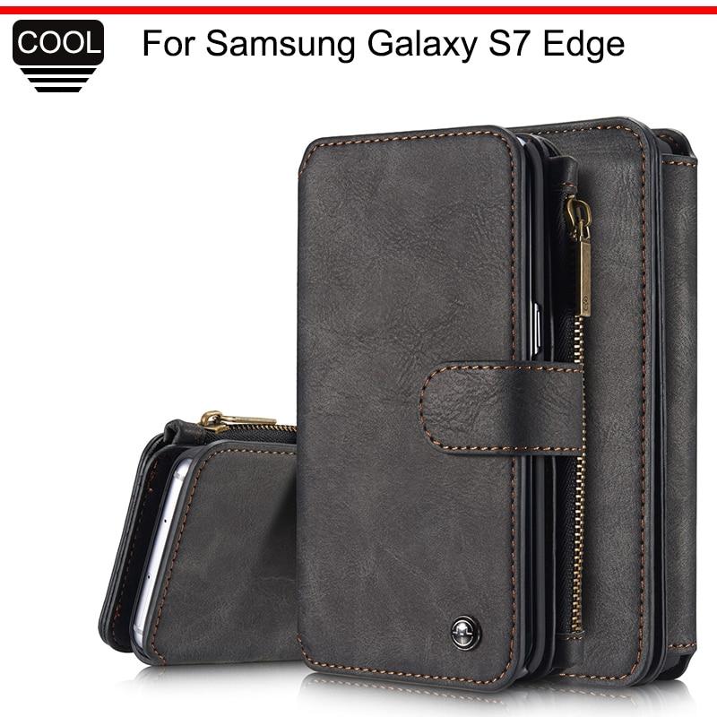 imágenes para Tarjeta de Caso Para Samsung Galaxy Caso Borde S7 CaseMe Calidad de Lujo Cartera de cuero Cubierta Del Tirón Para Samsung Galaxy Caja Del Teléfono Borde S7