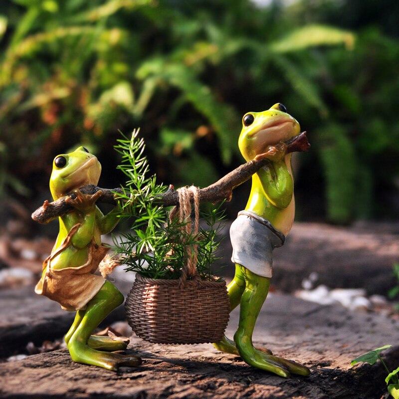 Acheter Résine creative 3D grenouilles chiffres panier Décoration Figurine Modèle, pots de fleurs, décoration de jardin, En Plein Air statue, Cour décoration de decorative figurines fiable fournisseurs