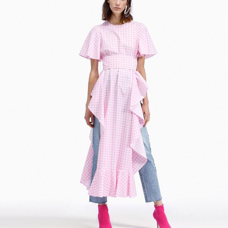 Ruique 2019 nouveau printemps couleur bonbon hauts femme asymétrique ourlet irrégulière chemises femmes de haute qualité serré taille partie haut tendance