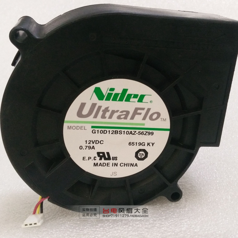 Original Nidec G10D12BS10AZ-56Z99 <font><b>9733</b></font> <font><b>12V</b></font> Grill Turbine <font><b>Blower</b></font> <font><b>Fan</b></font> image