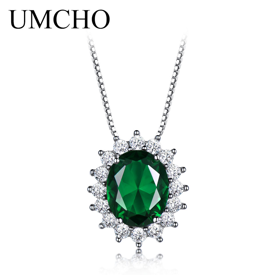 UMCHO Авальную 8 * 10 мм Gemstone Nano Emerald кулон 925 стерлингового срэбра караляў для жанчын Wedding Gift Fine Jewelry з ланцужком
