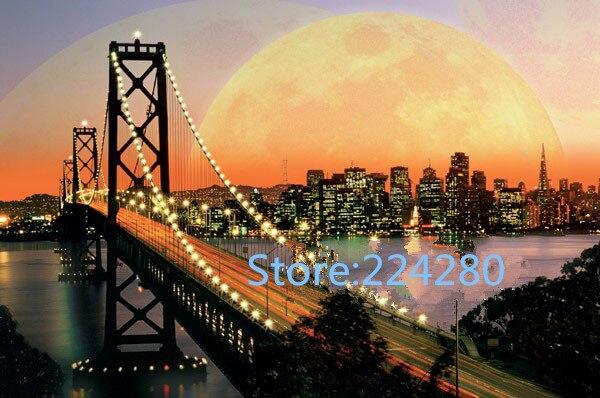 Needlework DIY DMC Cross stitch San Francisco Evening Bridge Scenery for Embroidery kits Art Cross Stitching