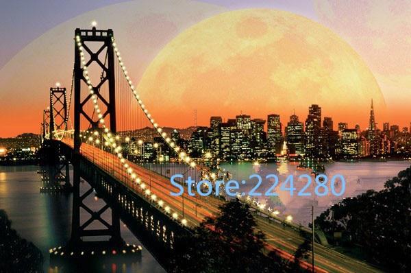 Couture, bricolage DMC point de croix, San Francisco soirée pont décor pour kits de broderie, Art point de croix fait à la main décor à la maison
