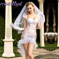 Bride wedding photo sexy uniform temptation white charming sexy dress set bud silk yarn veil lace skirt + white pure gloves set