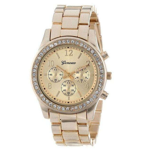 2018 New Fashion Faux Chronograph Plated Classic Geneva Quartz Ladies Watch Wome