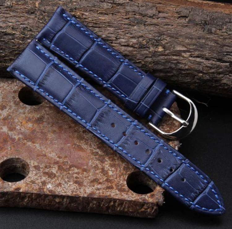 Brillant Neue Arrival12mm 14mm 16mm 18mm 20mm 22mm Lederarmband Deployant Armbanduhr Band Blau Armband Für Luxus Uhr Männer