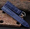 Nova Arrival12mm 14mm 16mm 18mm 20mm 22mm Assista Bracelete de Couro Deployant Banda Pulseira de Relógio Azul pulseira Para Relógios de luxo homens