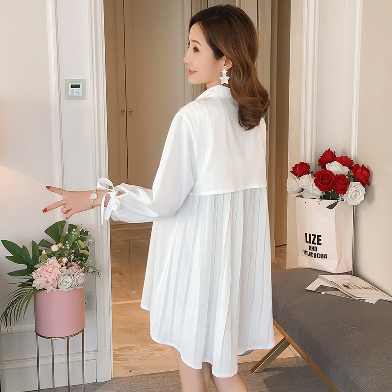 3473de07617 633  Sweet White Back Pleat Maternity Blouses 2019 Spring Summer Fashion  Shirt Clothes for Pregnant