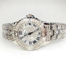 New Mulheres Rhinestone Relógios Rosa de Ouro Vestido Relógios Completa Diamante de Cristal de Luxo das Mulheres Relógios Feminino relógio de Quartzo Relógios 4 Cores