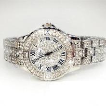 New Women Rhinestone Watches Rose Gold Dress Watches Full Diamond Crystal Women's Luxury Watches Female Quartz Watches 4 Colors