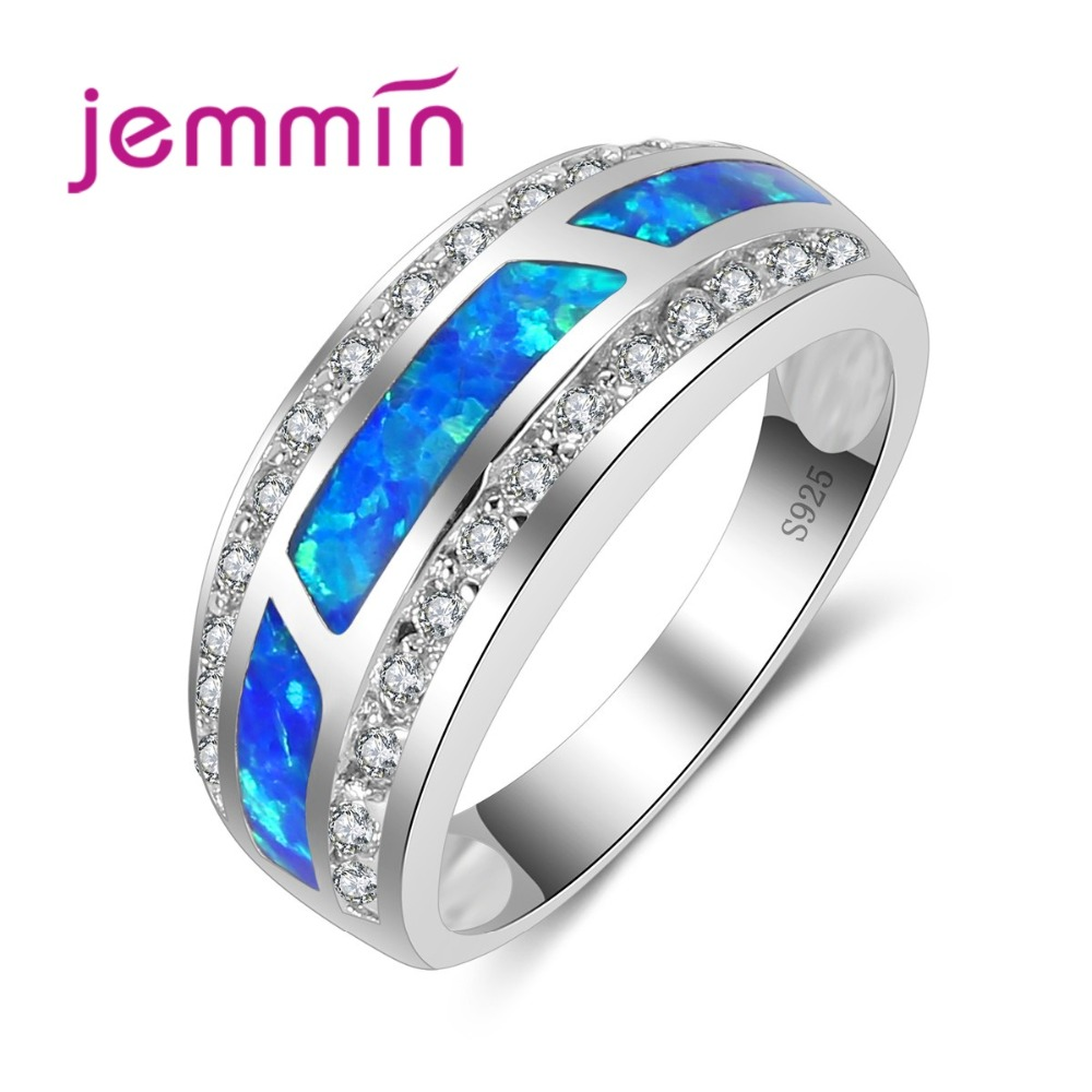 Classic Gorgeous Ring with Full Crystal Stone Fashion Blue Fire Opal Ring For Women Popular Jewelry
