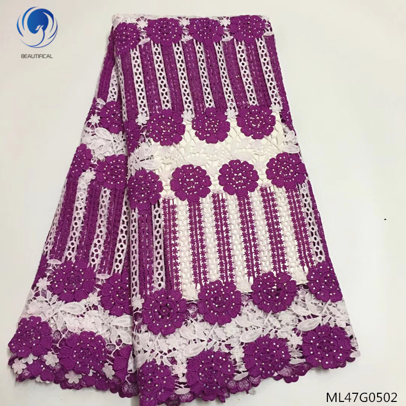BEAUTIFICAL guipure lace fabrics with rhinestones 2019 new cord lace fabrics dress for women wedding 5yards/lot ML47G05BEAUTIFICAL guipure lace fabrics with rhinestones 2019 new cord lace fabrics dress for women wedding 5yards/lot ML47G05