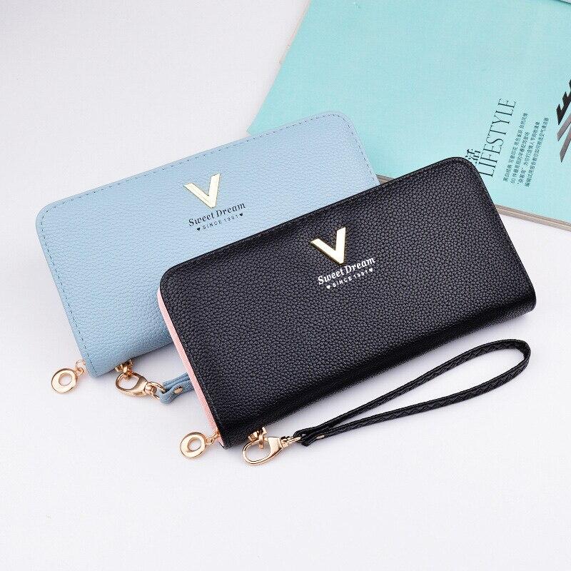 AOEO wallet for women handy wristlet Long Handbag Wristlet PU Leather Purse Girls 8 Card Holder minimalist ladies wallet Female