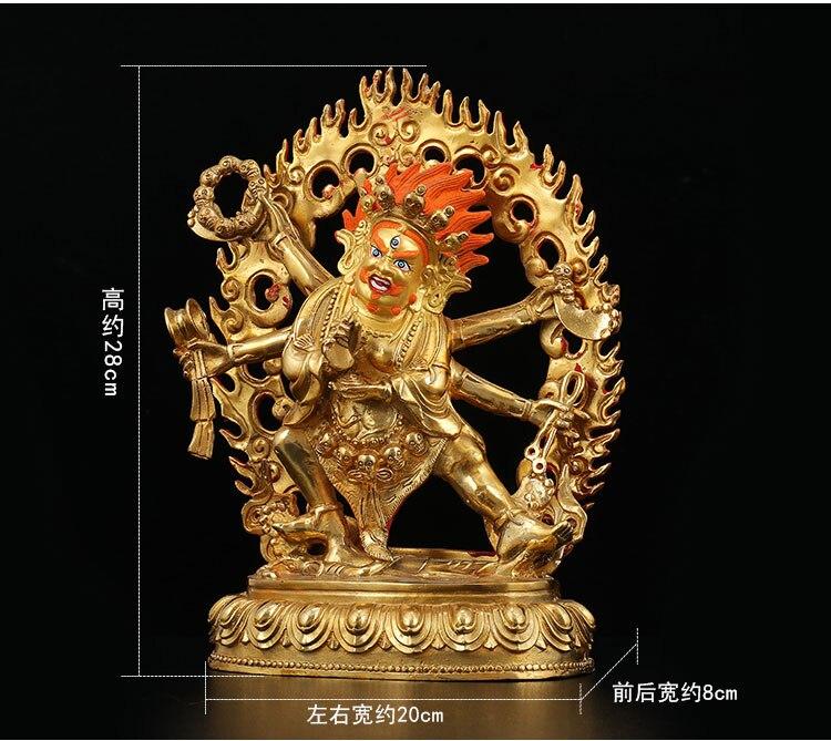 LARGE # HOME hall efficacious Protection Talisman Tibetan Buddhism gold-plated gilt Six arm Mahaka La buddha statue