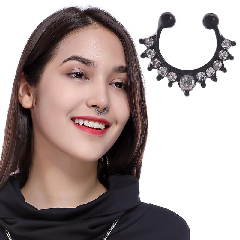 Black Crystal Fake Septum Piercing Nose Ring Hoop Nose For Women