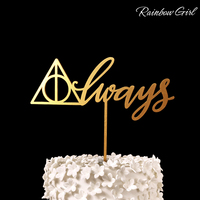 Always Deathly Hallows Cake Topper Wood Rustic Wedding Decorations Bridal Shower Party Favors Cake Accessories