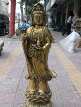 41 Chinese Buddhism Brass Copper Stand Lotus Vase Kwan-yin Guanyin Buddha Statue