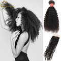 Brazilian Afro Kinky Curly Hair With Closure 7A Brazilian Curly Hair With Closure,Brazilian Kinky Curly Virgin Hair With Closure