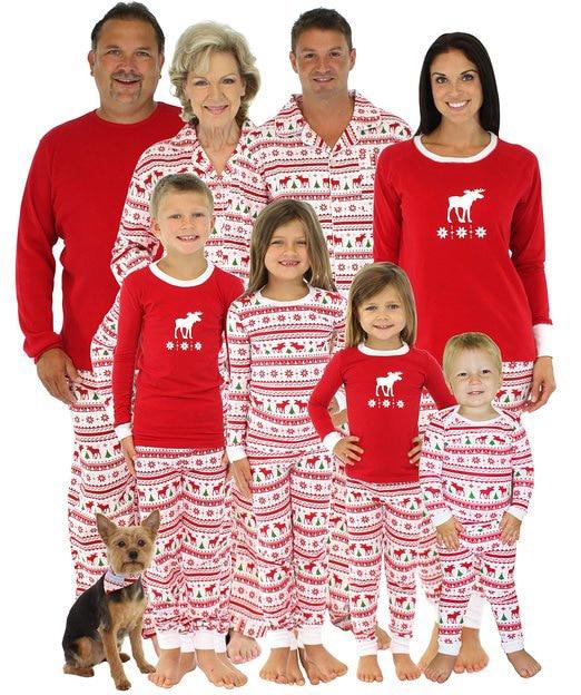 2017 Fashion Christmas Family Men Women kid baby Sleepwear Pajamas Set Striped Outfits Deer tree Print Christmas Pajama Sets