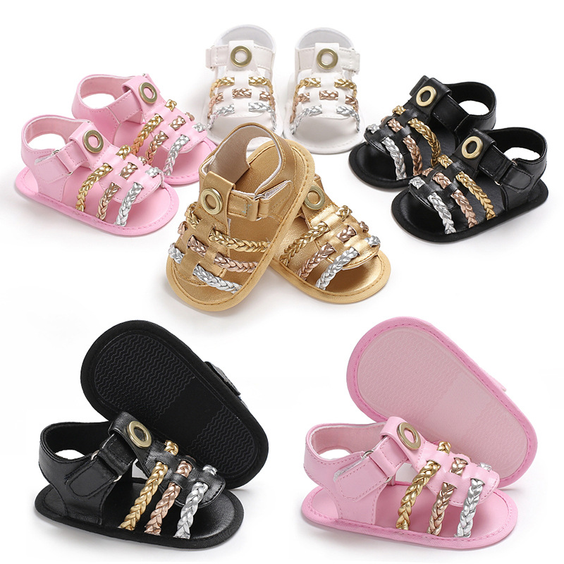 Summer new style PU leather kids baby sandals boys and girls Knitted sandals soft sole 2018 children fashion Beach shoes