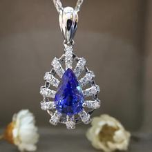 1.470ct+0.192ct 18K White Gold Natural Sapphire and Pendant Necklace Diamond inlaid 2016 Factory Direct New Arrival Fine Jewelry