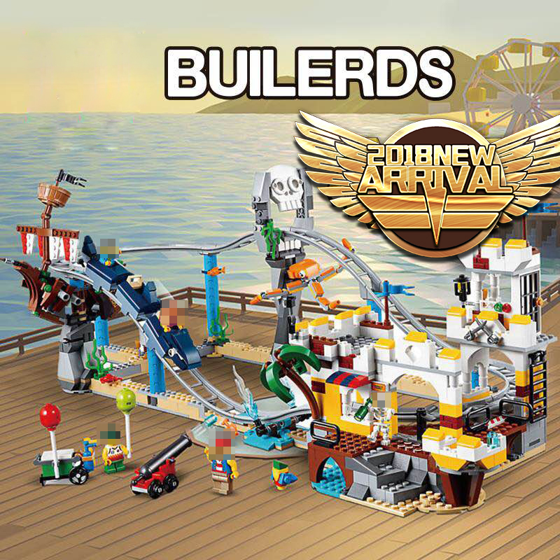 Blocks Bricks Compatible legoingly Ceartor 31084 Lepined 24051 Pirate Roller Coaster Building Blocks Educational Toys 1033pcs red pirate ship blocks compatible legoingly war pirate king character action diy bricks cannon building blocks toys for children