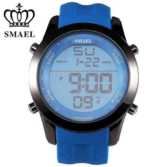 SMAEL Luxury Brand Men's Sports Watches Fashion Silicone Waterproof LED Military Electronics Wristwatches Hot Clock relogio