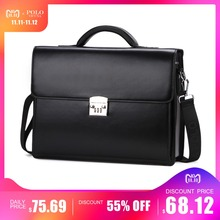 6d00eb7b24d VICUNA POLO Luxury Famous Brand Password Lock Leather Bag Men Briefcase  Business Office Bag Leather maleta