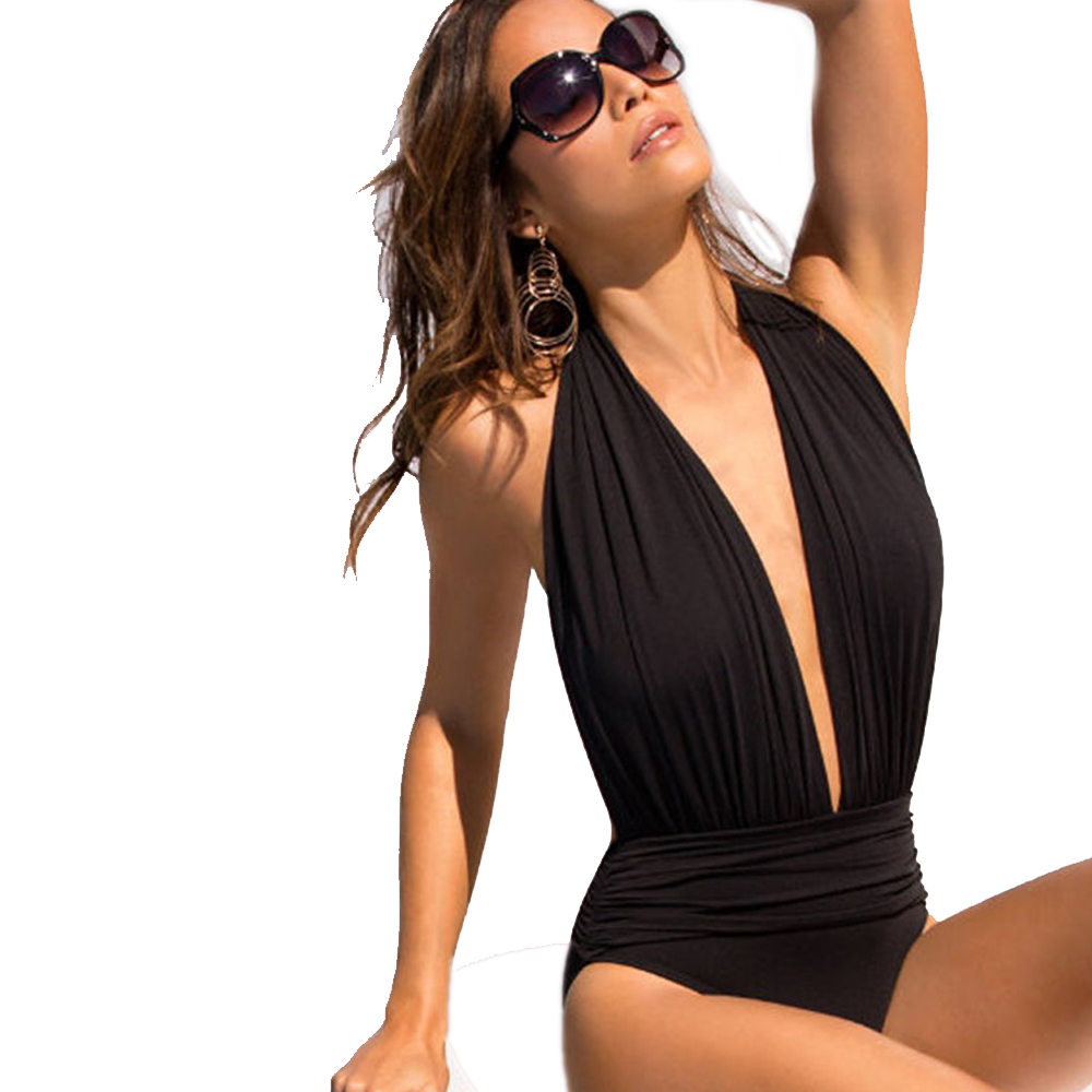 New Black One Piece Swimsuit Backless Sexy Women's Swimwear Tankini Women's Beach Outing 2018 plunging neckline strappy backless tankini set page 4