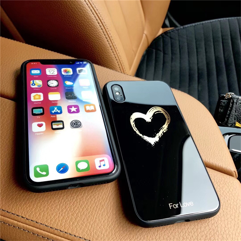 BONVAN Tempered Glass Case For iPhone X Lovely Heart Hard Back Cover Soft Silicone Bumper For iPhone 7 6S 8 Plus 6 Plus Cases03