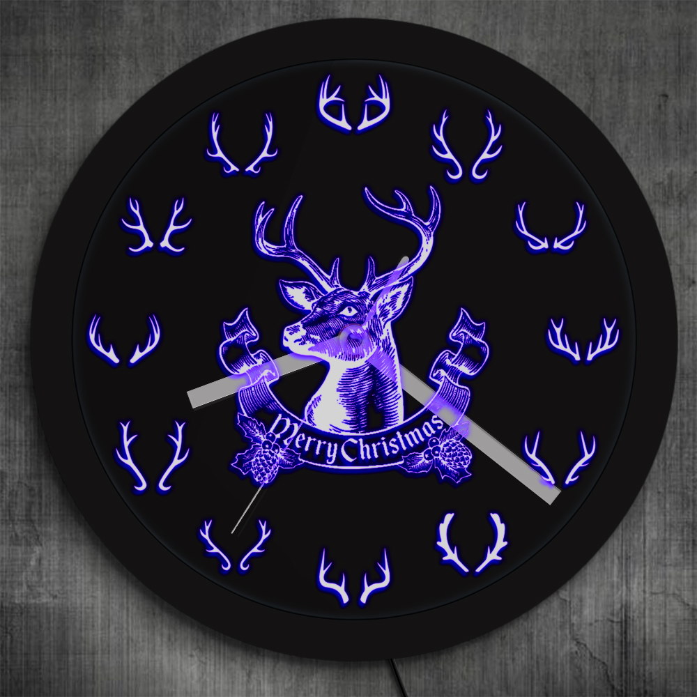 Merry Christmas Deer Wall Clock With LED Backlight 12 Different Deer Horn Antlers Color Changes Lighting Art Decor Hunting Gifts