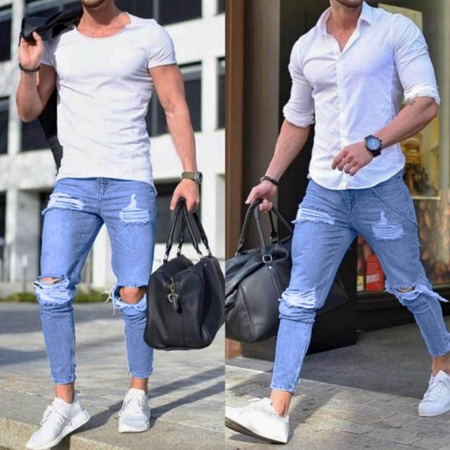 a67d532ffd5 2018 Popular Men s Stretchy Ripped Skinny Biker Jeans Destroyed Taped Slim  Fit Denim Pants Practical Mens Pants  3630
