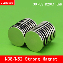 30pcs/lot 20 x 1.5 mm Super Strong Rare Earth Disc 20mm x 1.5mm Fridge Permanet Magnet Small N38 N52 Neodymium Magnet 20*1.5MM