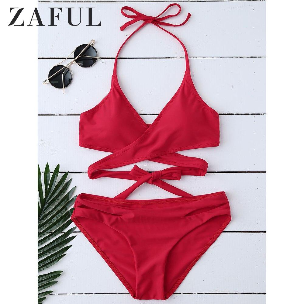 ZAFUL Bikini Padded Halter Wrap Bikini Women Mid Waist Swimsuit Padded Sportswear Swimwear Beach Sexy Bathing Suit Biquini Femme