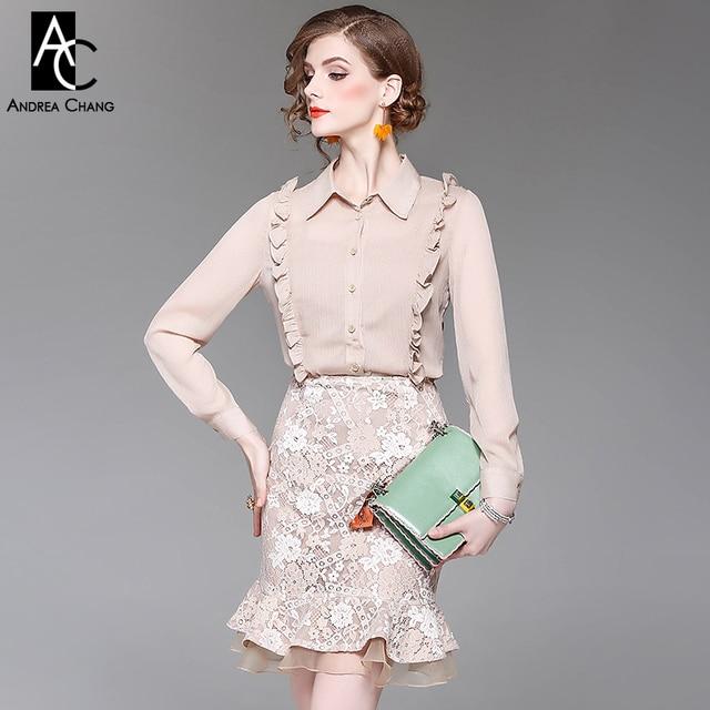 384d03d7e spring summer woman outfit khaki beige nude color shirt blouse lace skirt  two-piece outfit