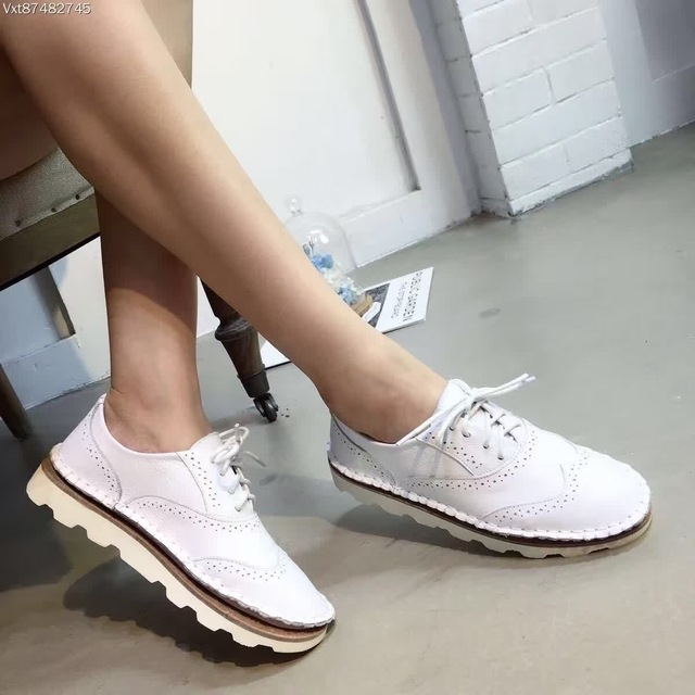 New Designer Bullock Shoes Fashion Cowhide Genuine Leather Breathable Low Top Silver Shoes Lace Up