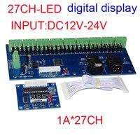 Bán buôn 1 cái DMX-27CH-LED hiển thị kỹ thuật số led decoder 1A * 27CH DMX512 XRL 3 P led điều khiển mờ cho RGB led strip lights
