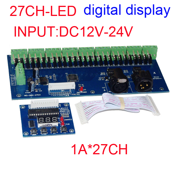 wholesale 1pcs DMX-27CH-LED digital display led decoder 1A*27CH DMX512 XRL 3P led controller dimmer for RGB led strip lights 350ma constant current 12ch dmx dimmer 12 channel dmx 512 dimmer drive led dmx512 decoder rj45 xrl 3p