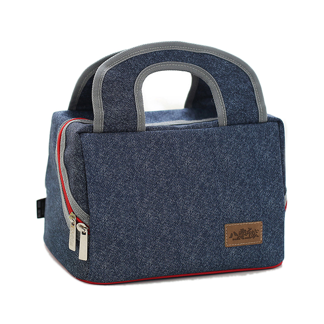 Large Aluminum insulated thermal lunch bag Thermal insulation for beer cans ice packs cold storage insulation denim cooler bags