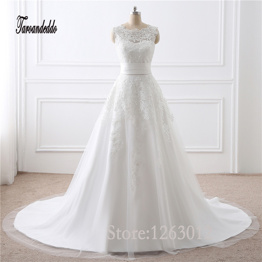 In Stock White/Ivory Applique Lace Two Pieces Wedding Dress Real Pictures Bridal Gown New 2017 Robe De Mariage Vestido De Noiva