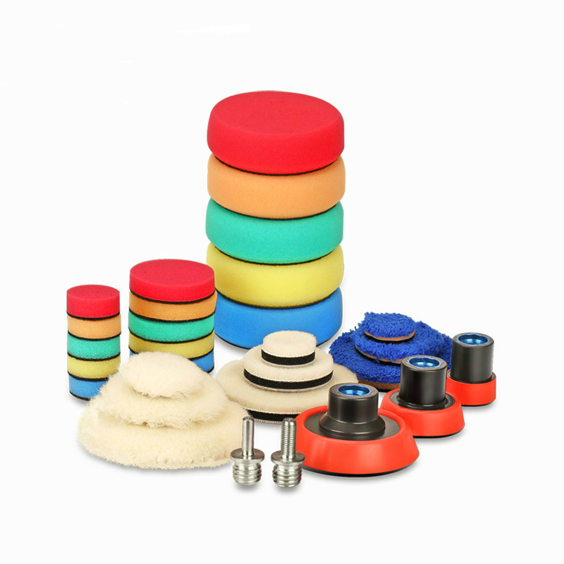 29Pcs Drill Buffing Buffer Detail Polishing Polisher Pad Kit + 5/8&quot-11 / M14 Thread Backing Backer Plate Pad & Adapt