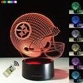 Nueva Luz de La Noche 3D NFL Pittsburgh Steelers Casco de Fútbol Americano Lámpara de La Mesita de Luz Creativa de la Ilusión Visual 7 Colores Regalo de Cumpleaños