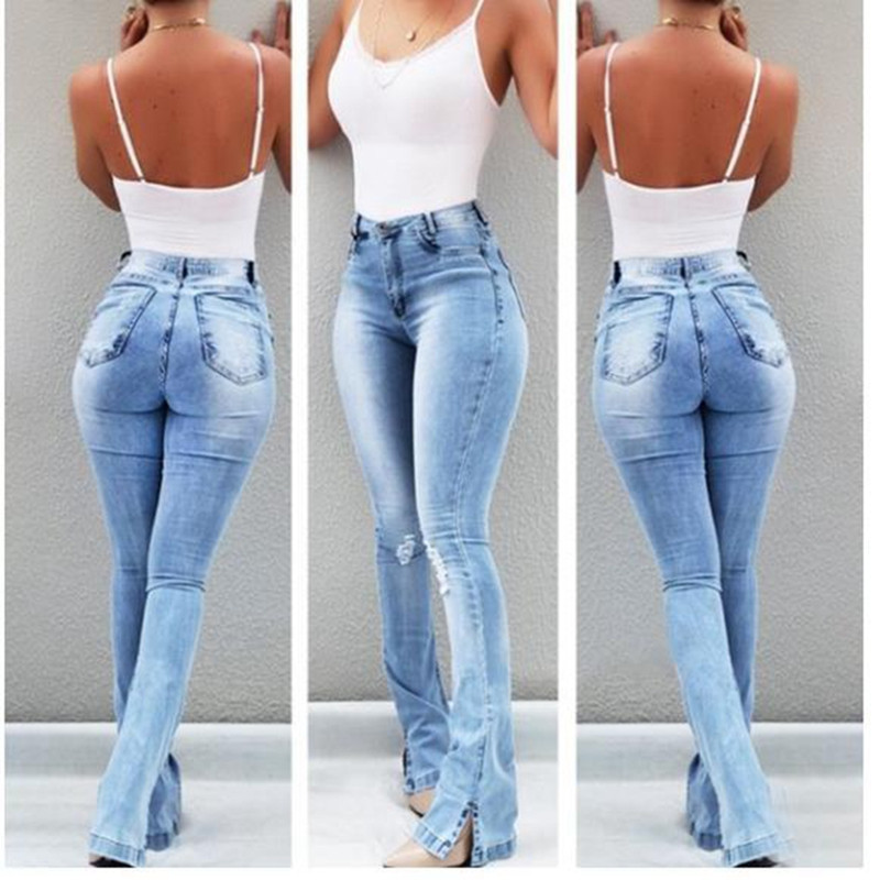 Women Ripped Flared Jeans High Waist Elegant Vintage Bell Bottom Skinny Denim Pants Ladies Sexy Casual Wide Leg Jeans Trousers