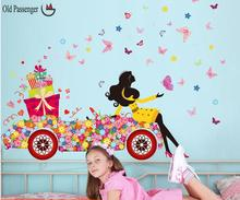 Old Passenger _ New listing wall stickers butterfly girl stylish modern decor for home decoration decals removable wallpaper