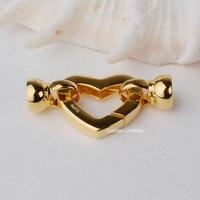 Твердые 9 k Karat жёлтое Золото Застежка в форме сердца Au375 9ct Оро Пряжка для жемчужного ожерелье ювилирные изделия фурнитура и компоненты