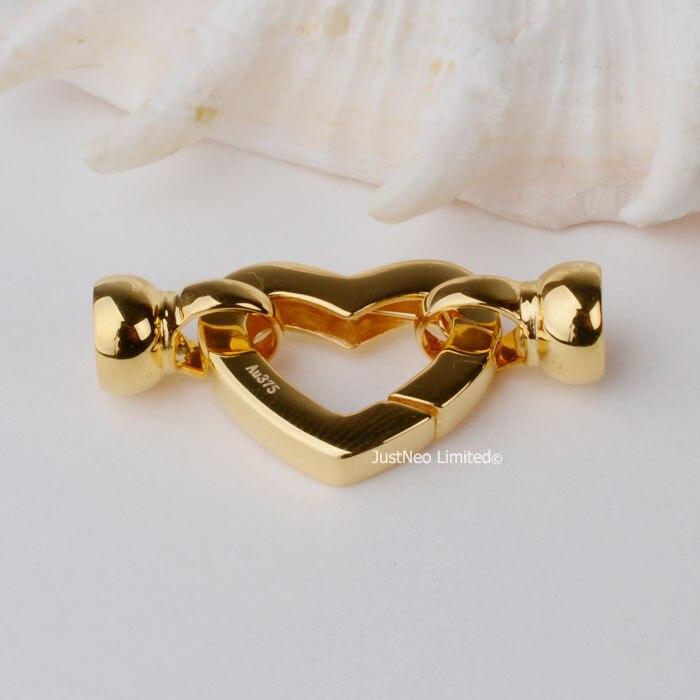 Fermoir solide en or jaune 9 k Karat en forme de coeur boucle Au375 9ct Oro pour collier de perles résultats et composants de bijoux