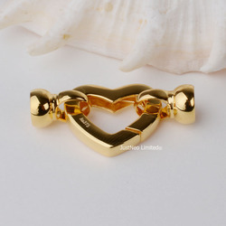 Solid 9k Karat Yellow Gold Clasp Heart Shape Au375 9ct Oro Buckle for Pearl Necklace Jewelry Findings and Components