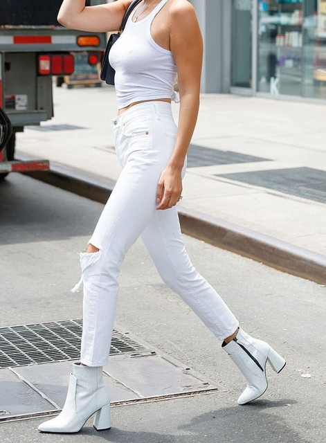 Ladies's Vintage High Waisted Ripped White Jeans