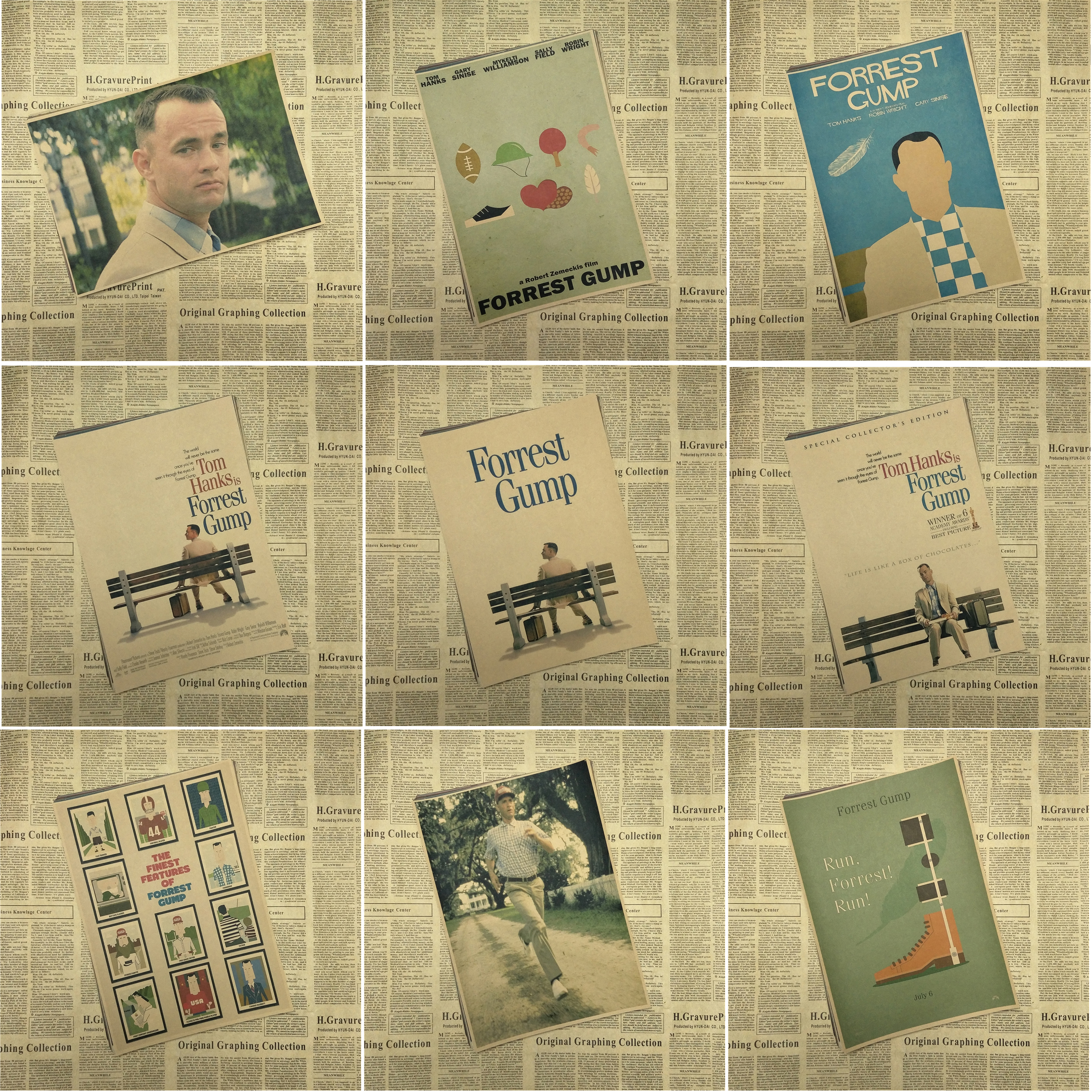 Forrest Gump Tom Hanks Self-Improvement Home Furnishing decoration Kraft Movie Poster Drawing core Wall stickers 42X30 CM image