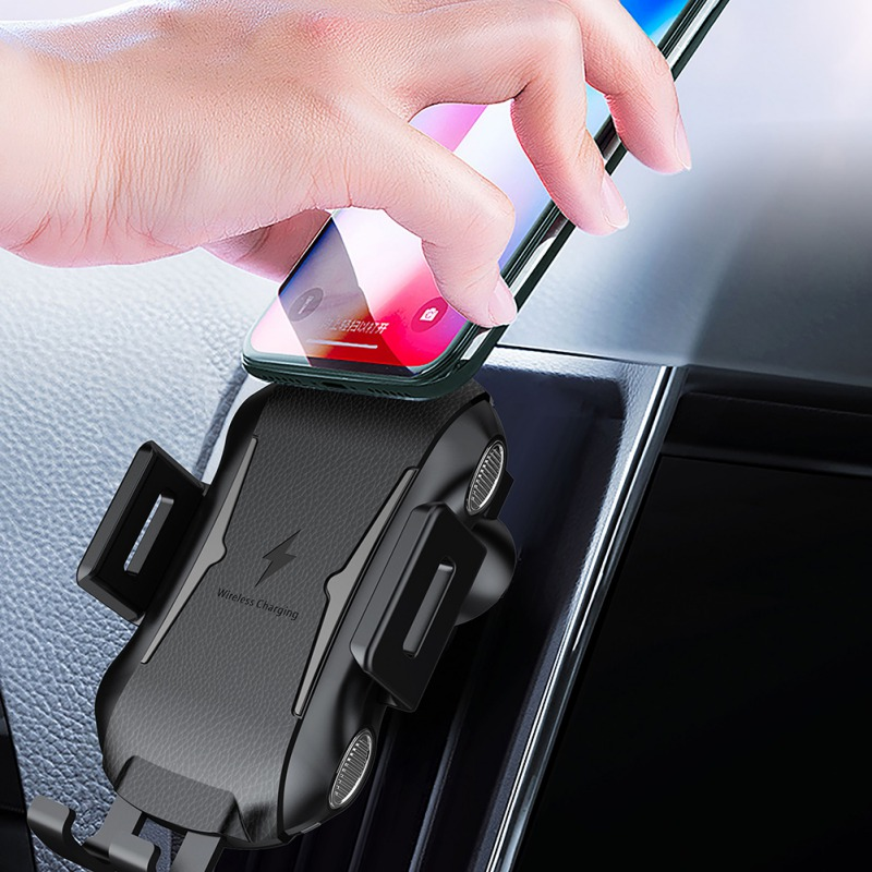 Automatic Qi Fast Wireless Car Mobile Phone Charger/Holder for iPhone X XS XR 8 Plus Samsung S9 S8 Note 9 8 Black Portable